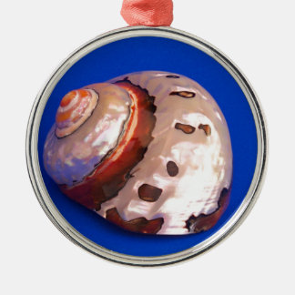 Shell on Blue Christmas Ornament
