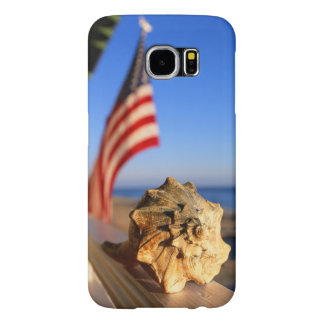 Shell On Porch Railing With American Flag Samsung Galaxy S6 Cases