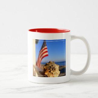 Shell On Porch Railing With American Flag Two-Tone Coffee Mug