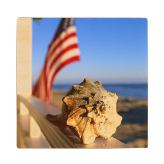 Shell On Porch Railing With American Flag Wood Coaster