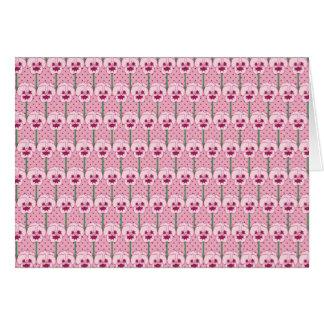 Shell pink pansies - retro wallpaper pattern note card