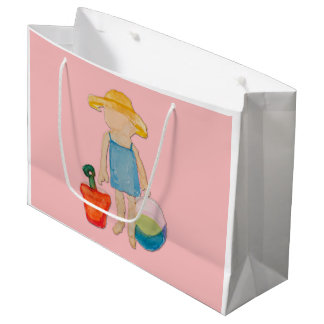 Shell Pink Toddler Baby Girl at Beach Large Gift Bag
