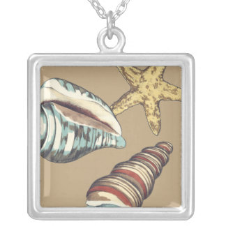 Shell Trio on Khaki Silver Plated Necklace