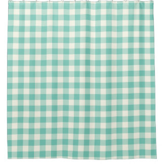 Shell Turquoise Gingham Shower Curtains