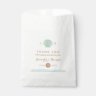 Shell Watercolor Aqua Wedding Favor Bags Favour Bags
