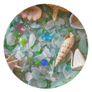 Shells and Beach Glass Plate