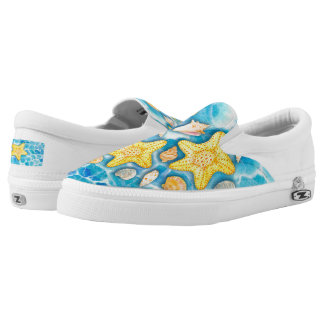 Shells and Starfish on Watercolor Ocean Background Printed Shoes