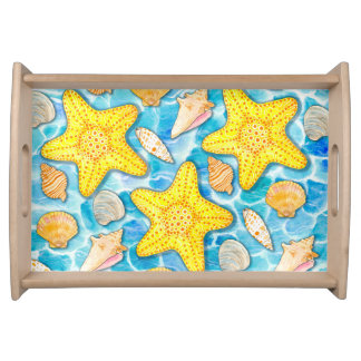Shells and Starfish on Watercolor Ocean Background Serving Tray
