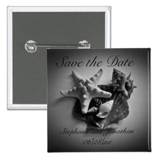 Shells in black and white Save the Date button