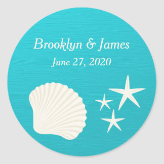Shells On Beach Wedding Stickers