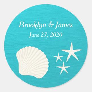Shells On Beach Wedding Stickers Round Sticker