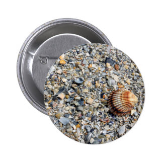 shells on the beach 6 cm round badge