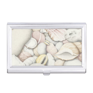 Shells & Pebbles on Beach Business Card Holder