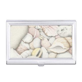 Shells & Pebbles on Beach Business Card Holder