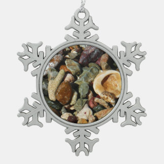 Shells, Rocks and Coral Beach Nature Theme Snowflake Pewter Christmas Ornament