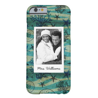 Shells & Starfish Pattern | Your Photo & Name Barely There iPhone 6 Case