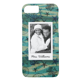 Shells & Starfish Pattern | Your Photo & Name iPhone 8/7 Case