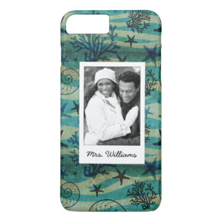 Shells & Starfish Pattern | Your Photo & Name iPhone 8 Plus/7 Plus Case