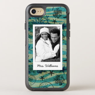 Shells & Starfish Pattern | Your Photo & Name OtterBox Symmetry iPhone 8/7 Case