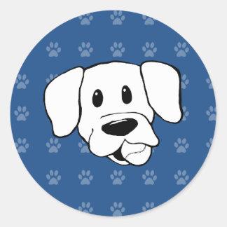 Shelter Dog cartoon labrador blue pawprints Classic Round Sticker