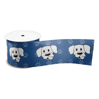 Shelter Dog cartoon labrador blue pawprints wide r Satin Ribbon