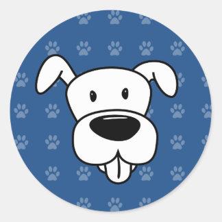 Shelter Dog cartoon pit bull blue pawprints Classic Round Sticker