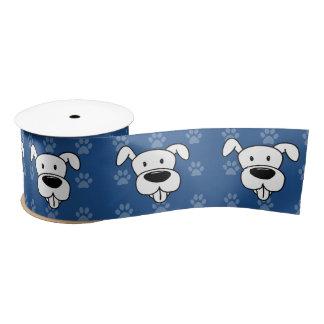 Shelter Dog cartoon pit bull blue pawprints wide Blank Ribbon