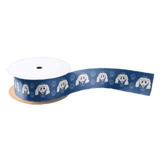 Shelter Dog cartoon poodle blue pawprints narrow Satin Ribbon