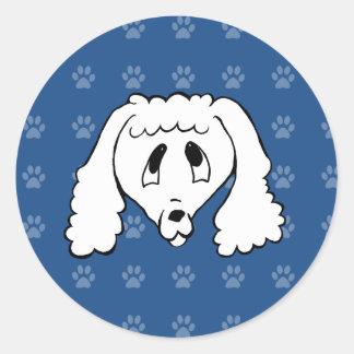Shelter Dog cartoon poodle blue pawprints Classic Round Sticker