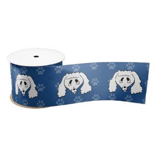 Shelter Dog cartoon poodle blue pawprints wide Blank Ribbon