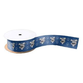 Shelter Dog cartoon sheepdog blue pawprints narrow Satin Ribbon