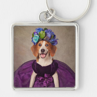 Shelter Pets Project - Lady P. Silver-Colored Square Key Ring