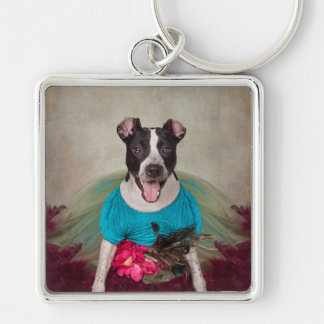 Shelter Pets Project - Shake-earrah Silver-Colored Square Key Ring