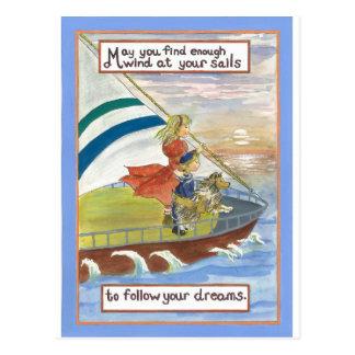 Sheltie Art  Wind at Your sails Postcard