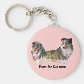 Sheltie Breast Cancer Keychain
