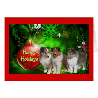 Sheltie Christmas Card Happy Holidays Ball