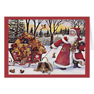Sheltie Christmas Card Santa Bears In Sleigh