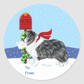Sheltie Christmas Mail Bi Black Gift Tags