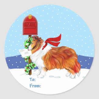 Sheltie Christmas Mail Sable Gift Tags