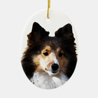 Sheltie Dog painting sketch Christmas Ornament