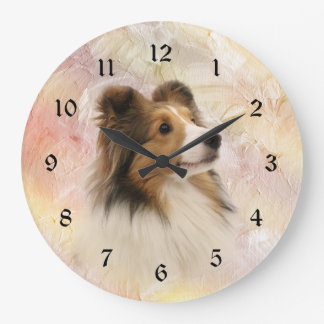 Sheltie face large clock