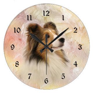 Sheltie face large clock