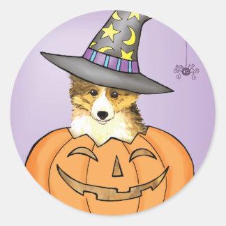 Sheltie Halloween Classic Round Sticker