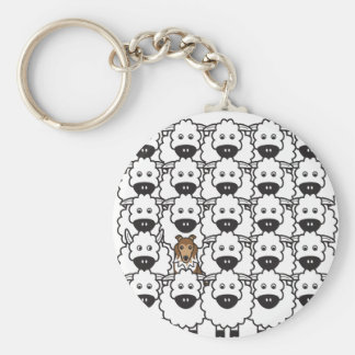 Sheltie in the Sheep Basic Round Button Key Ring