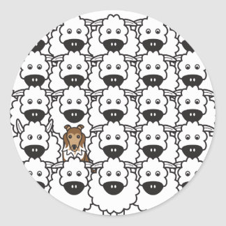 Sheltie in the Sheep Round Sticker