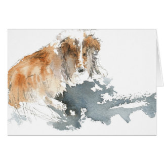 Sheltie in Water Color Card
