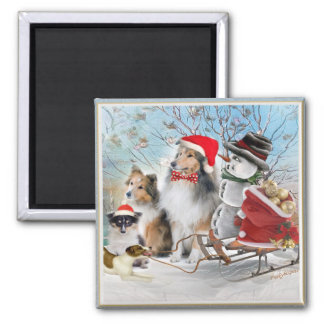 Sheltie, Jack Russell and Snowman Holiday Gifts Magnet