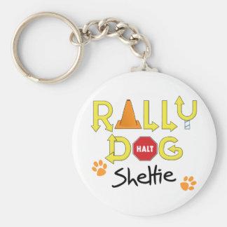Sheltie Rally Dog Basic Round Button Key Ring
