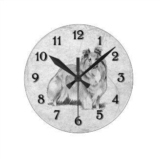 Sheltie Round Clock
