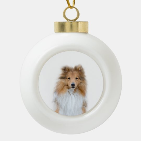 Sheltie Shetland Sheepdog Ceramic Ball Ornament